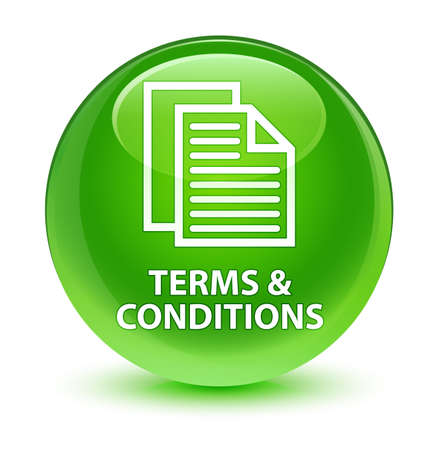 Terms and conditions (pages icon) isolated on glassy green round button abstract illustration Stock Photo