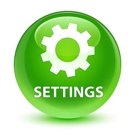 gears: Settings isolated on glassy green round button abstract illustration