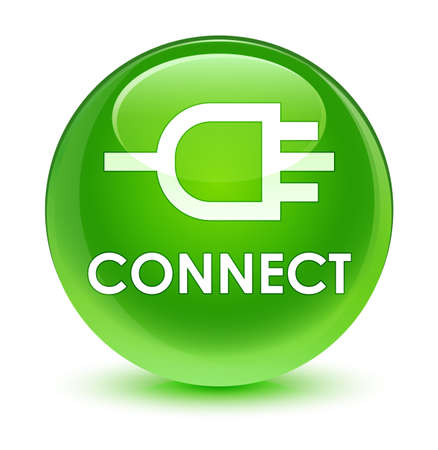 Connect isolated on glassy green round button abstract illustration Stock Photo