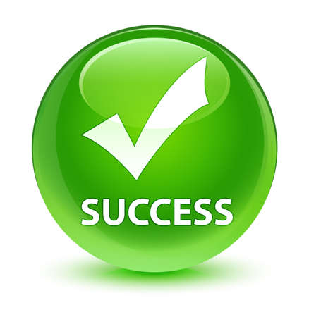 Success (validate icon) isolated on glassy green round button abstract illustration