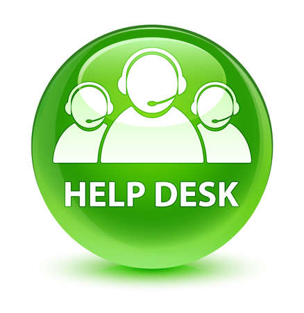 Help desk (customer care team icon) isolated on glassy green round button abstract illustration