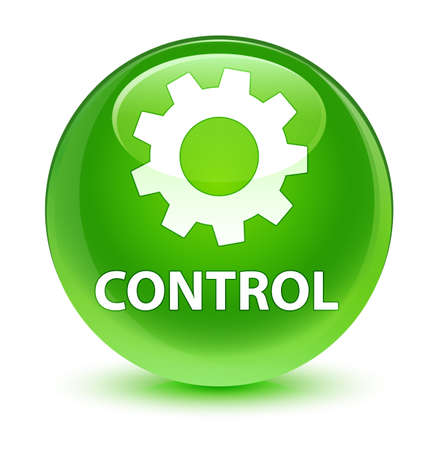 cogwheel: Control (settings icon) isolated on glassy green round button abstract illustration