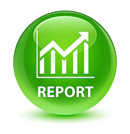 graphic: Report (statistics icon) isolated on glassy green round button abstract illustration Stock Photo