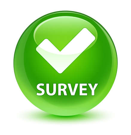 inquiry: Survey (validate icon) isolated on glassy green round button abstract illustration Stock Photo