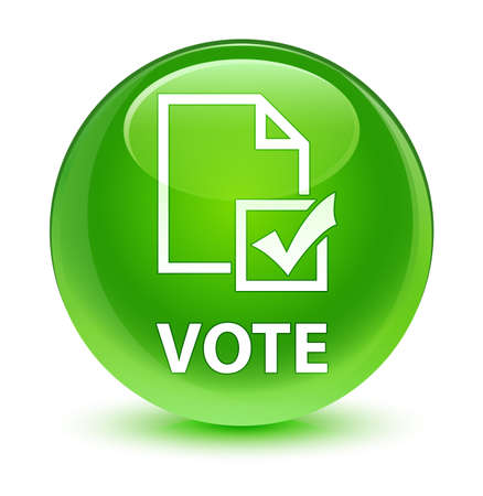 Vote (survey icon) isolated on glassy green round button abstract illustration Stock Photo