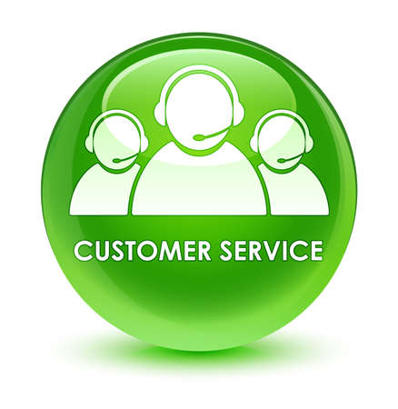 customer service representative: Customer service (team icon) isolated on glassy green round button abstract illustration