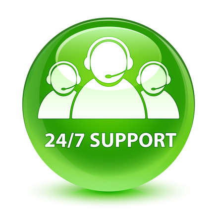 247 Support (customer care team icon) isolated on glassy green round button abstract illustration