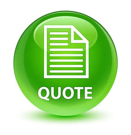 testimonials: Quote (page icon) isolated on glassy green round button abstract illustration