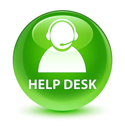 customer service representative: Help desk (customer care icon) isolated on glassy green round button abstract illustration