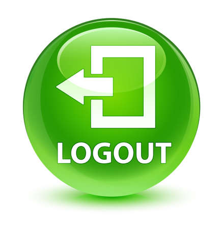 Logout isolated on glassy green round button abstract illustration