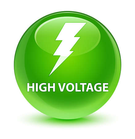 danger: High voltage (electricity icon) isolated on glassy green round button abstract illustration Stock Photo