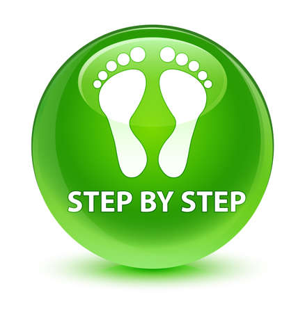 Step by step (footprint icon) isolated on glassy green round button abstract illustration