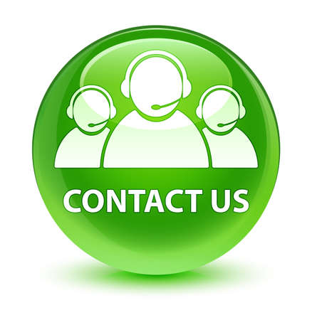 Contact us (customer care team icon) isolated on glassy green round button abstract illustration