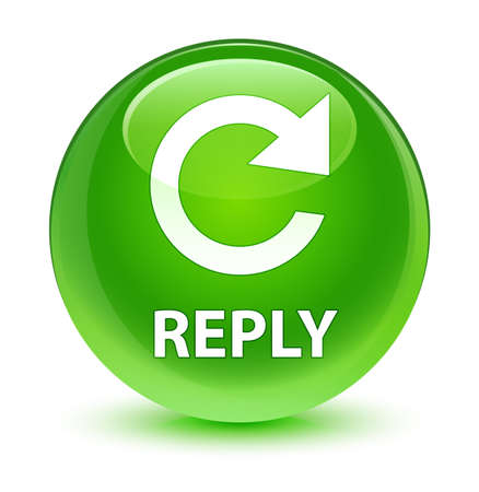 Reply (rotate arrow icon) isolated on glassy green round button abstract illustration Stock Photo