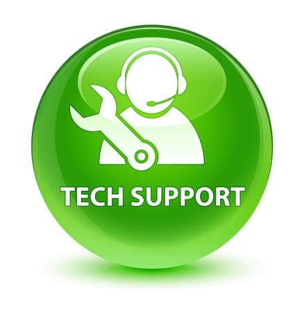 Tech support isolated on glassy green round button abstract illustration