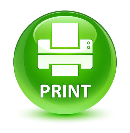 printout: Print (printer icon) isolated on glassy green round button abstract illustration Stock Photo
