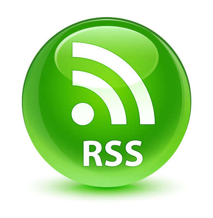 RSS isolated on glassy green round button abstract illustration Stock Photo