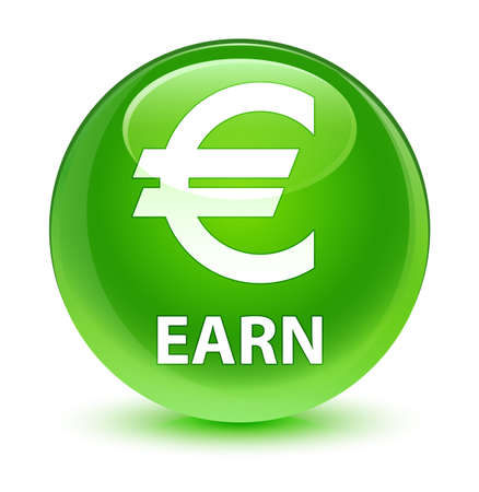 Earn (euro sign) isolated on glassy green round button abstract illustration Stock Photo