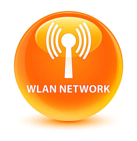 wireless icon: Wlan network isolated on glassy orange round button abstract illustration Stock Photo