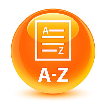 az: A-Z (list page icon) isolated on glassy orange round button abstract illustration