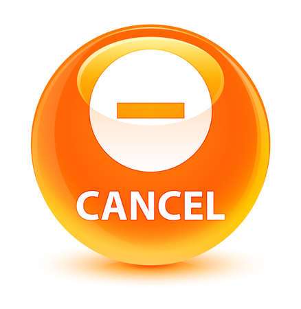 Cancel isolated on glassy orange round button abstract illustration Stock Photo