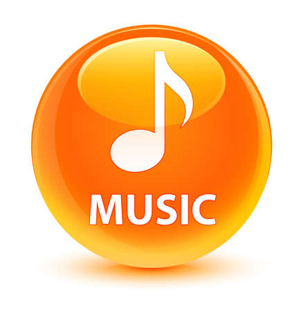 Music isolated on glassy orange round button abstract illustration