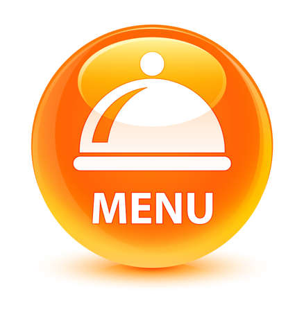 Menu (food dish icon) isolated on glassy orange round button abstract illustration Stock Photo