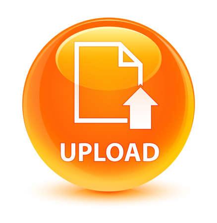 유리 오렌지 라운드 단추 추상 그림에서 격리 업로드 (문서 아이콘) 스톡 콘텐츠