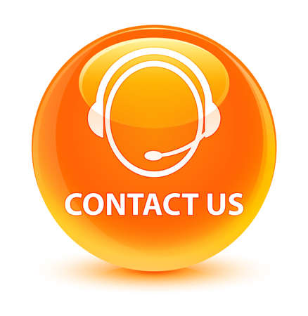 customer service representative: Contact us (customer care icon) isolated on glassy orange round button abstract illustration Stock Photo