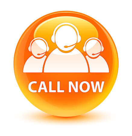 Call now (customer care team icon) isolated on glassy orange round button abstract illustration