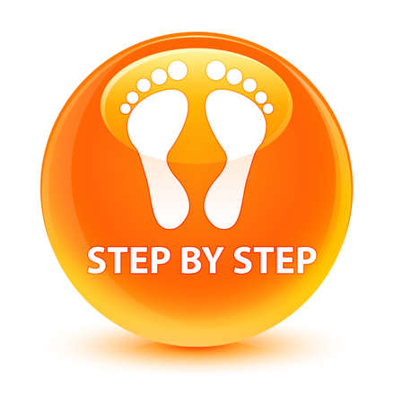Step by step (footprint icon) isolated on glassy orange round button abstract illustration