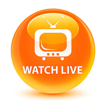 Watch live isolated on glassy orange round button abstract illustration