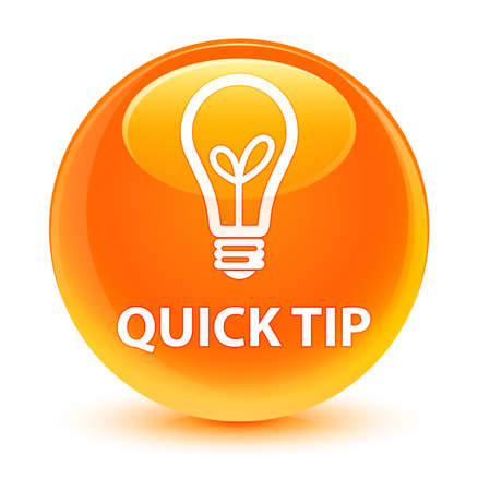 Quick tip (bulb icon) isolated on glassy orange round button abstract illustration Stock fotó