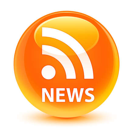 News (RSS icon) isolated on glassy orange round button abstract illustration