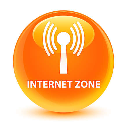wireless signal: Internet zone (wlan network) isolated on glassy orange round button abstract illustration Stock Photo