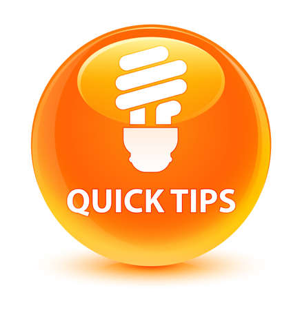 Quick tips (bulb icon) isolated on glassy orange round button abstract illustration