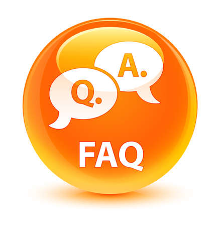 Faq (question answer bubble icon) isolated on glassy orange round button abstract illustration