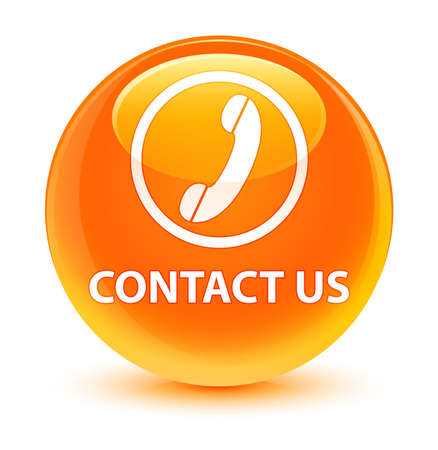 telephone: Contact us (phone icon) isolated on glassy orange round button abstract illustration