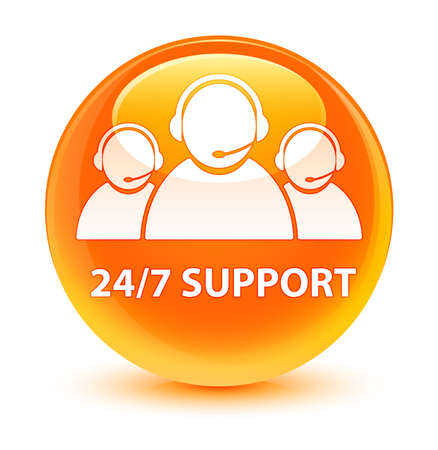 247 Support (customer care team icon) isolated on glassy orange round button abstract illustration