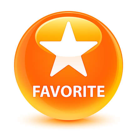 Favorite (star icon) isolated on glassy orange round button abstract illustration