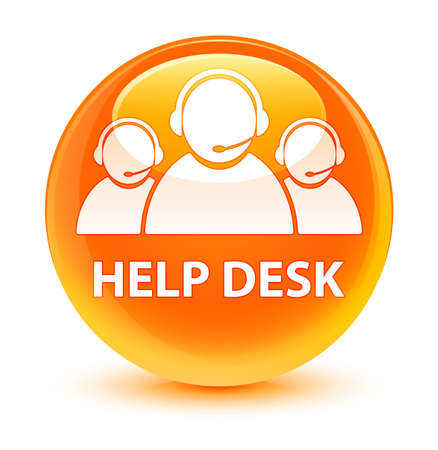 Help desk (customer care team icon) isolated on glassy orange round button abstract illustration Stock Photo