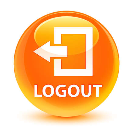 Logout isolated on glassy orange round button abstract illustration Stock Photo