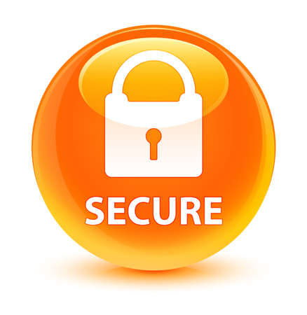 security symbol: Secure (padlock icon) isolated on glassy orange round button abstract illustration Stock Photo