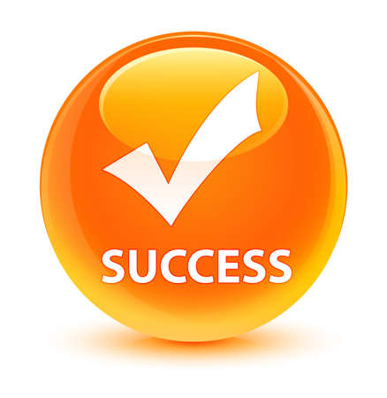 Success (validate icon) isolated on glassy orange round button abstract illustration
