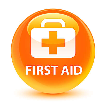 medical illustration: First aid isolated on glassy orange round button abstract illustration
