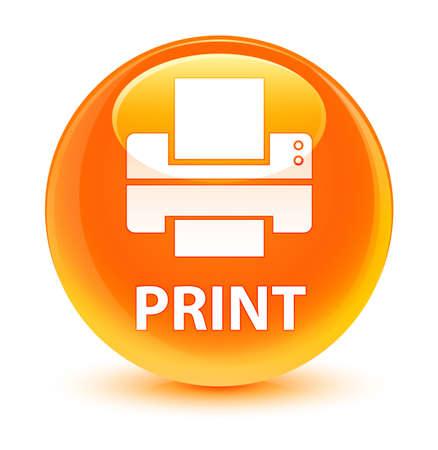 Print (printer icon) isolated on glassy orange round button abstract illustration