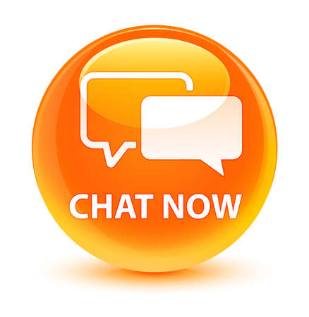 Chat now isolated on glassy orange round button abstract illustration Stock Photo