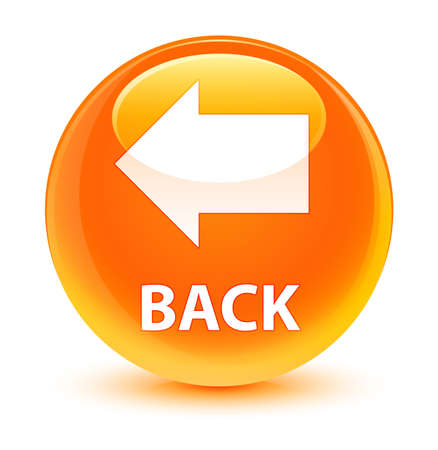 Back isolated on glassy orange round button abstract illustration