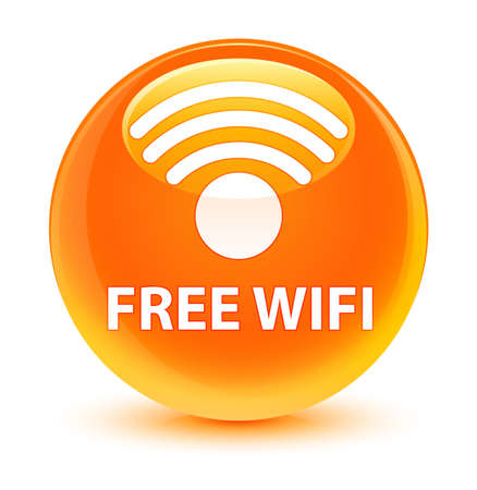 wireless signal: Free wifi isolated on glassy orange round button abstract illustration Stock Photo