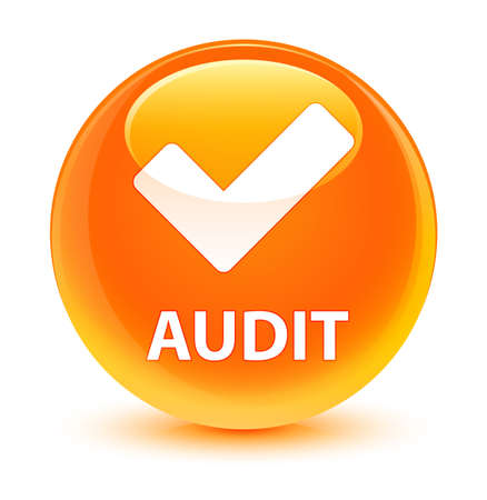 Audit (validate icon) isolated on glassy orange round button abstract illustration Stock Photo